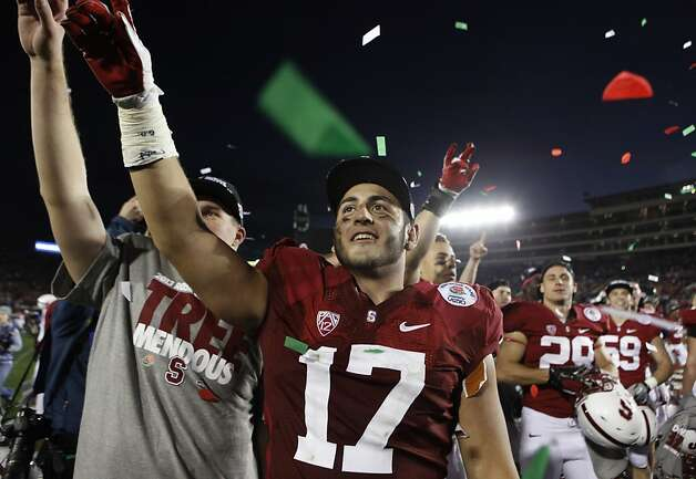 Inside linebacker A.J. Tarpley celebrates with fans after Stanford's Rose Bowl victory over Wisconsin in Pasadena, Calif. on Tuesday, Jan. 1, 2013. Photo: Paul Chinn, The Chronicle