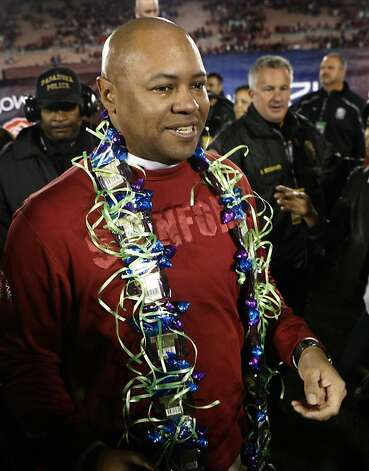 Stanford head coach David Shaw sheds tears of joy after the Cardinal beat the Wisconsin Badgers at the Rose Bowl in Pasadena, Calif. on Tuesday, Jan. 1, 2013. Photo: Paul Chinn, The Chronicle
