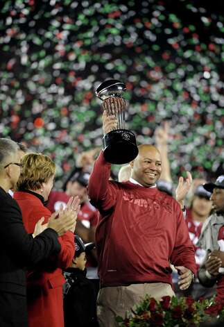 PASADENA, CA - JANUARY 01:  Head coach David Shaw of the Stanford Cardinal celebrates after the Cardinal defeat the Wisconsin Badgers 20-14 in the 99th Rose Bowl Game Presented by Vizio on January 1, 2013 at the Rose Bowl in Pasadena, California.  (Photo by Harry How/Getty Images) Photo: Harry How