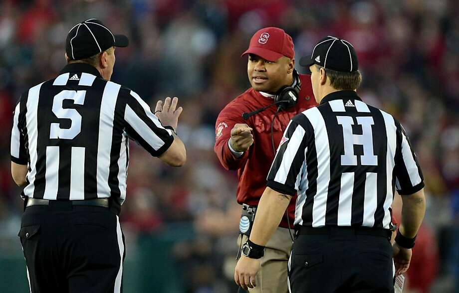Head coach David Shaw of the Stanford Cardinal argues with referees in the second half against the Wisconsin Badgers in the 99th Rose Bowl Game Presented by Vizio on January 1, 2013 at the Rose Bowl in Pasadena, California. Photo: Harry How, Getty Images