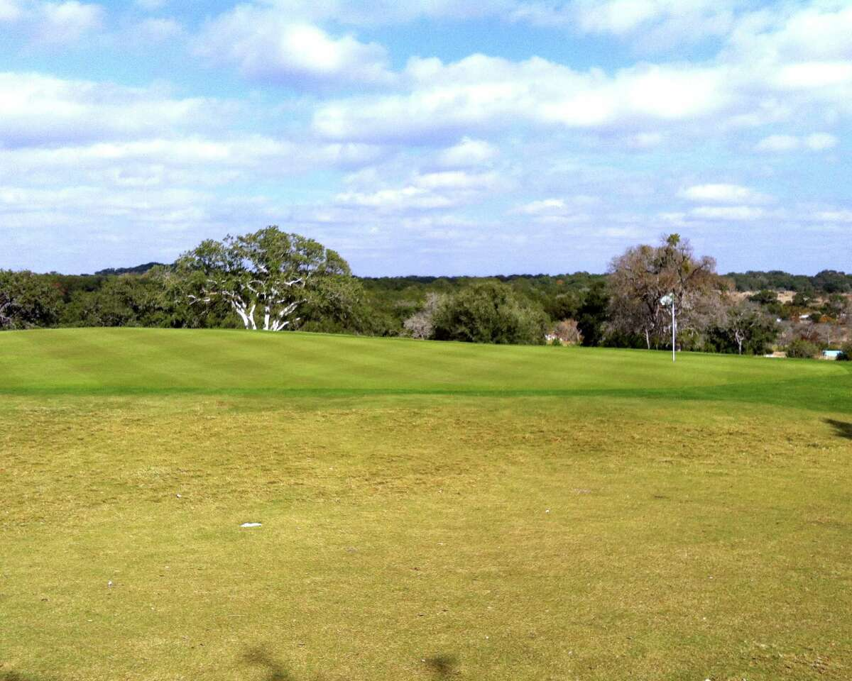 A miss on the left of the No. 8 green at Vaaler Creek Golf Club is forgiving, but the right side drops off precipitously into a creek bed.