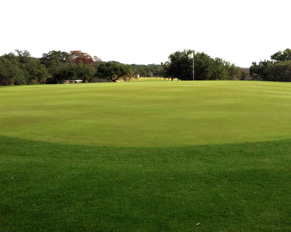 The greens at Vaaler Creek Golf Club south of Blanco, such as this on No. 1, are fast and often have elevation changes.