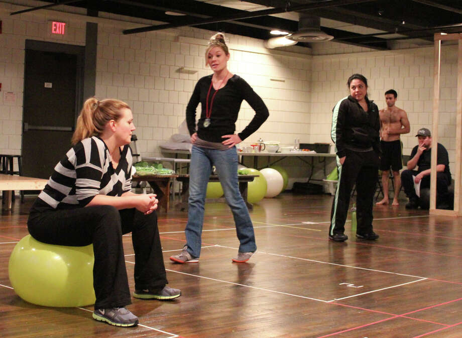 """A provocative new play about weight loss and body image - """"January Joiner"""" - opens at Long Wharf Jan. 9. On Jan. 7 the playwright Laura Jacqmin and director Eric Ting will discuss the issues raised by the play at R.J. Julia Booksellers. In the rehearsal hall recently were cast members (left to right) Meredith Holzman, Tonya Glanz, Maria-Christina Oliveras, Anthony Bowden and Daniel Stewart Sherman. Photo: Contributed Photo"""