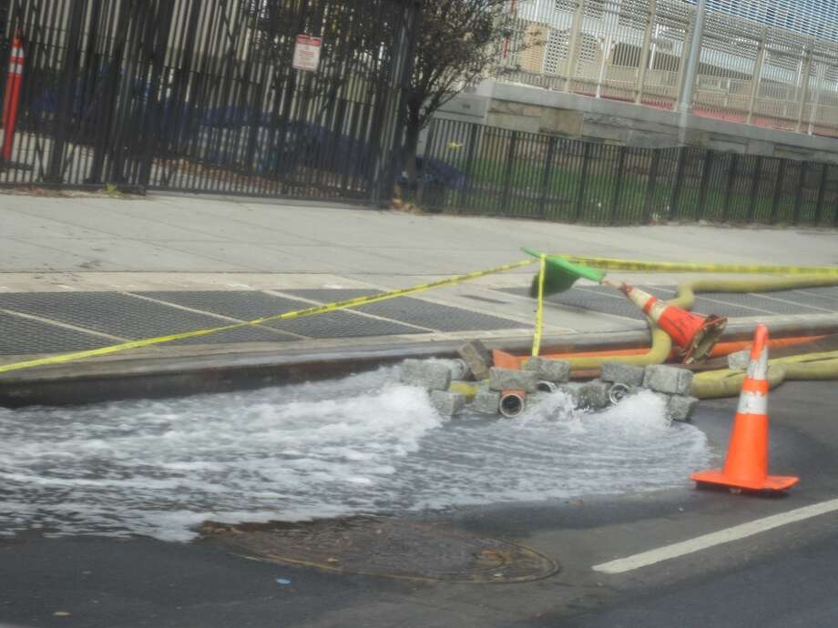 Pumps such as these were seen throughout Manhattan as everyone attempted to drain the flooded areas.