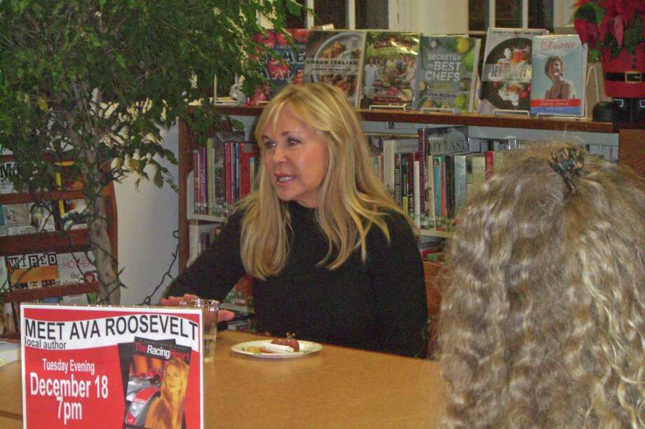 "Ava Roosevelt discusses her novel, ""The Racing Heart,"" at the Rowayton Library recently. Photo: Contributed Photo"