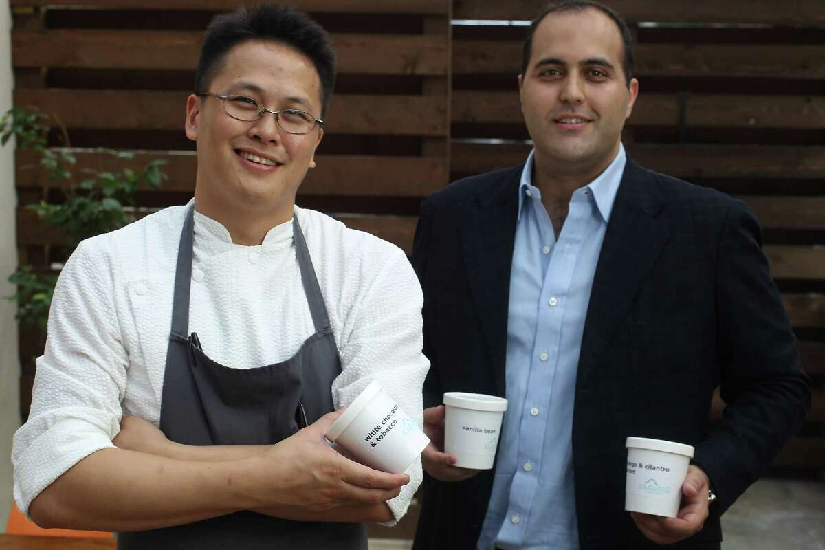 Cloud 10 Creamery's Chris Leung (pastry chef, currently at Kata Robata) and investor Christopher Balat, with Leung's ice cream concoctions, Wednesday, July 18, 2012, in Houston. Karen Warren / Houston Chronicle )