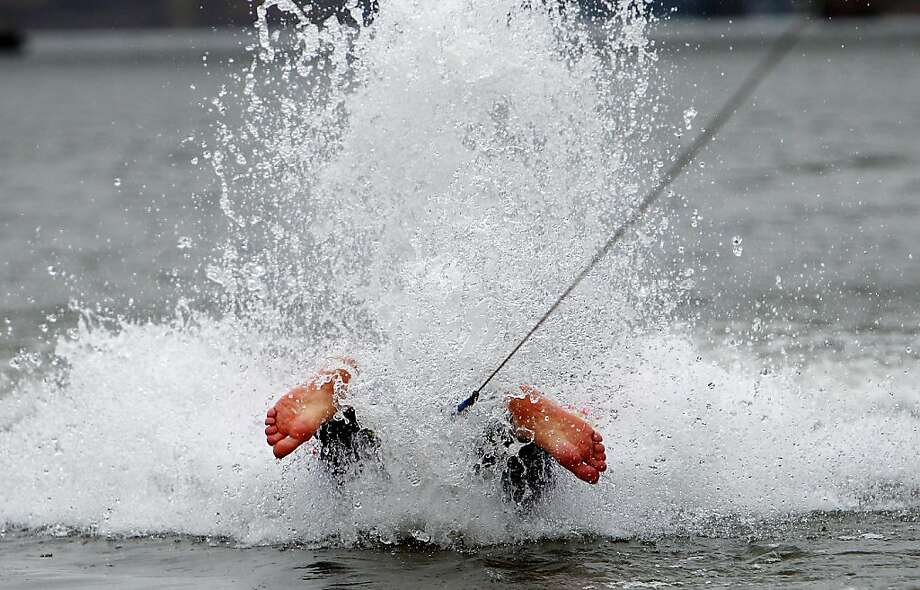 Water ski fail? Even though it doesn't look like it here, Duane Griffith is actually an accomplished barefoot skier who was competing in the Ski Freeze in Wolf River Harbor in Memphis, Tenn. Photo: Mike Brown, Associated Press
