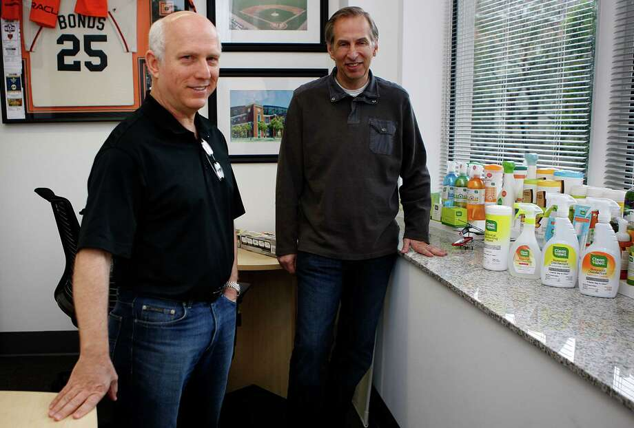 CleanWell co-founder Dr. Larry Weiss (left) and chief executive officer Rick Malmborg display their products that are free of the chemical triclosan. Photo: The Chronicle / SFC