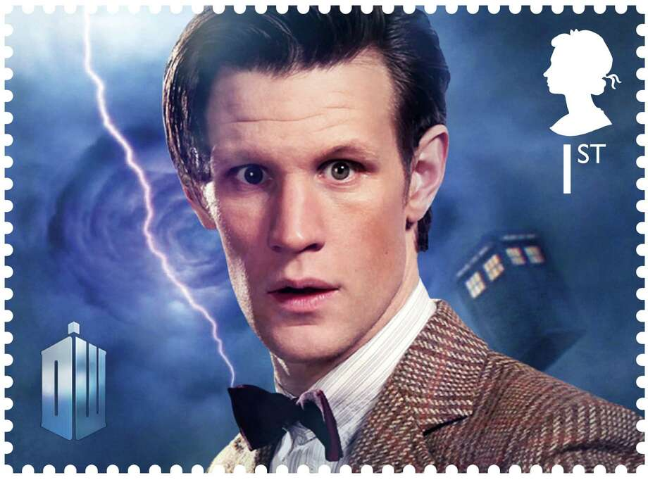 In this image released by the Royal Mail on Wednesday Jan. 3, 2013  shows a postage stamp with an image of the present  Dr. Who Matt Smith  Dr. Who _ who usually uses a police box for travel _ will be zooming through time and space on the edge of letters in 2013. Britain's Royal Mail is marking the 50th anniversary of ''Doctor Who,'' the science fiction program, with a series of stamps featuring each of the 11 actors who have played the title role.  Those featured include the present doctor, Matt Smith as well as past Time Lords such as David Tennant, Christopher Eccleston and the first doctor William Hartnell  (AP Photo/Royal Mail)