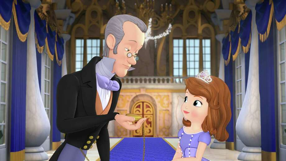 "This image released by Disney Junior shows characters, Baileywick, voiced by Tim Gunn, left, and Princess Sofia, voiced by Ariel Winter in a scene from the TV film, ""Sofia the First: One Upon A Princess,"" which debuted in November 2012. Gunn will also portray royal steward Baileywick in the TV series, ""Sofia the First,"" debuting Jan. 11. Gunn's character helps Sofia adapt to royal life after her mother marries a king. (AP Photo/Disney Junior) Photo: Disney Junior"