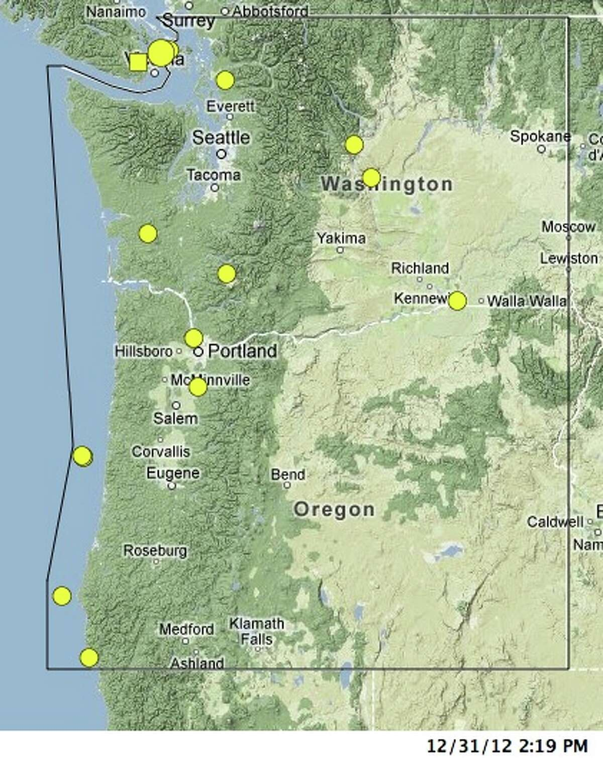 Here are the locations of all events larger than magnitude 3 in 2012. The earthquakes are spread across the region, mostly on the western side, the Pacific Northwest Seismic Network said. The largest event of the year was a magnitude 4 less than a mile inside Washington state near Victoria, B.C., in December.