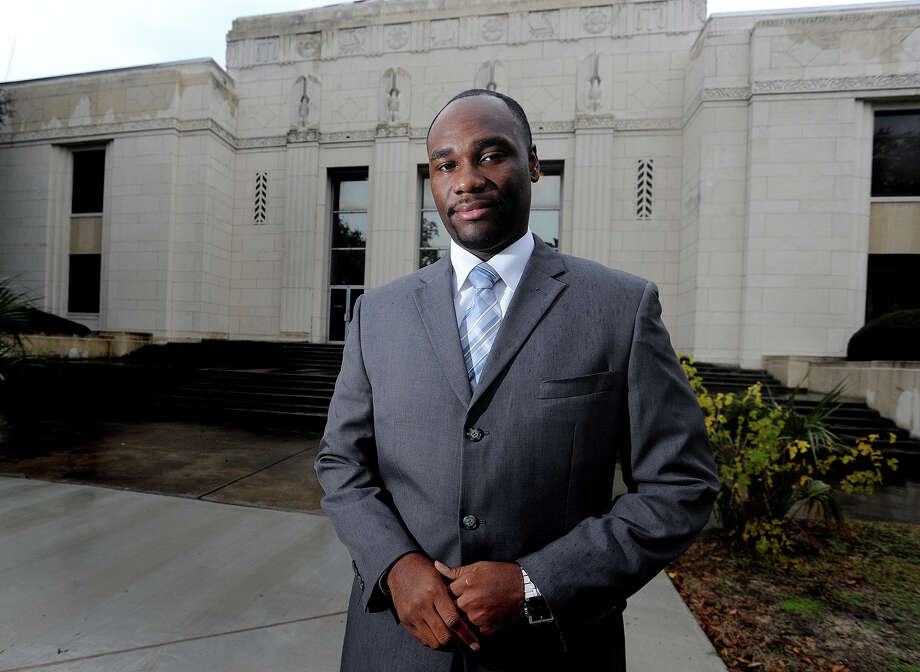 At 27, Christopher Bates was sworn in Wednesday as the youngest elected official in Jefferson County. Bates is Jefferson County's precinct 2 constable working in Port Arthur.  Photo taken Wednesday, January 02, 2012. Guiseppe Barranco/The Enterprise Photo: Guiseppe Barranco, STAFF PHOTOGRAPHER / The Beaumont Enterprise