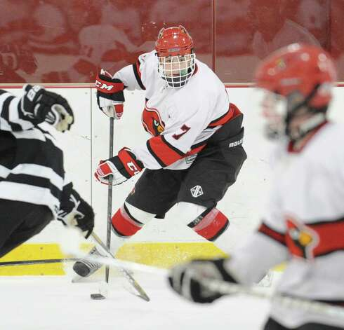 Brian Silard # 7 of Greenwich during the boys high school hockey game between Greenwich and Xavier of Middletown, Conn., at Dorothy Hamill Rink, Wednesday night, Jan. 2, 2013. Photo: Bob Luckey / Greenwich Time