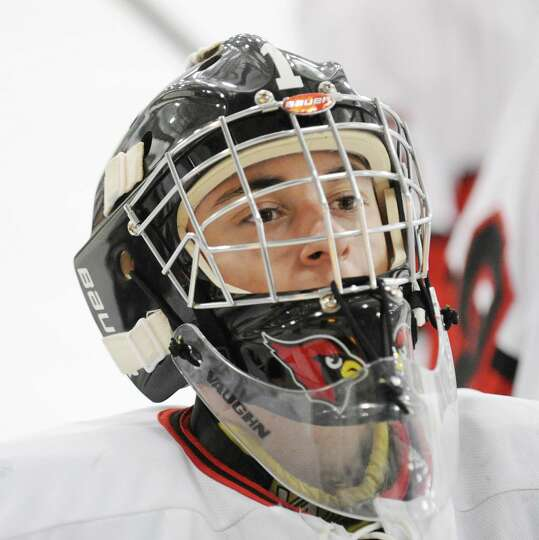 Greenwich goalie Bryan Archino during the boys high school hockey game between Greenwich and Xavier