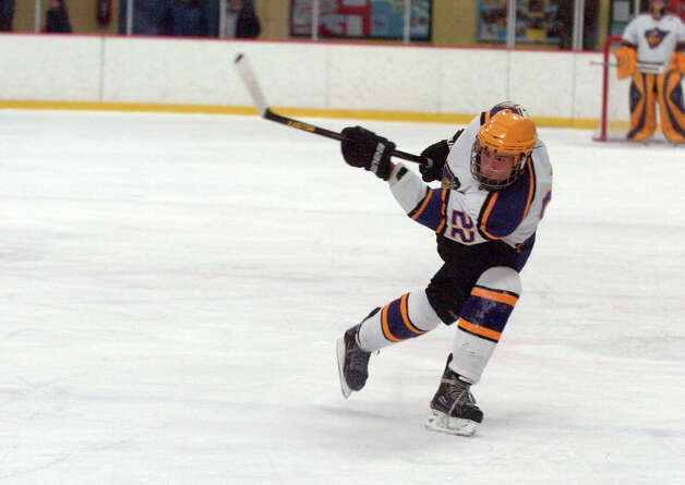 Westhill's Evan Shaulson in action as Stamford and Westhill HIgh Schools face off in a boys hockey game at Terry Conners Ice Rink in Stamford, Conn., Jan. 2, 2012. Photo: Keelin Daly / Stamford Advocate Riverbend Stamford, CT