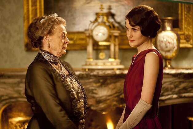 Downton Abbey Season 3Sundays, January 6 - February 17, 2013 on MASTERPIECE on PBSFrom left to right: Maggie Smith as the Dowager Countess and Michelle Dockery as Lady Mary© Carnival Film & Television Limited 2012 for MASTERPIECEThis image may be used only in the direct promotion of MASTERPIECE CLASSIC. No other rights are granted. All rights are reserved. Editorial use only. USE ON THIRD PARTY SITES SUCH AS FACEBOOK AND TWITTER IS NOT ALLOWED. Photo: Nick Briggs, PBS