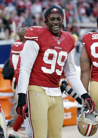 Aldon Smith led the NFC in sacks but his production dropped sharply after the loss of Justin Smith. Photo: Marcio Jose Sanchez, Associated Press
