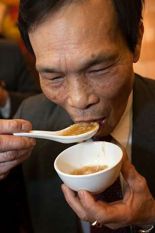 A Chinese herbalist doctor enjoys shark fin soup during a 2011 S.F. event opposing the legislation. Photo: David Paul Morris, Special To The Chronicle
