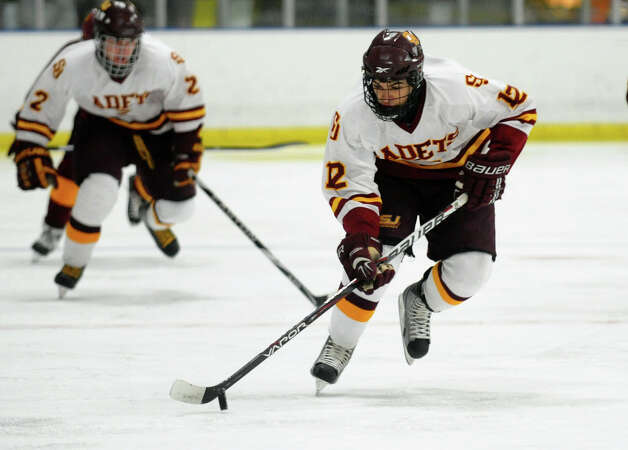 St. Joseph's #12 Mark Laoue, during boys hockey action against South Windsor at The Rinks in Shelton, Conn. on Wednesday January 2, 2012. Photo: Christian Abraham / Connecticut Post