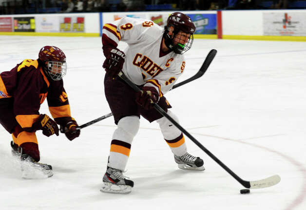 St. Joseph's #9 Christian Keator, during boys hockey action against South Windsor at The Rinks in Shelton, Conn. on Wednesday January 2, 2012. Photo: Christian Abraham / Connecticut Post