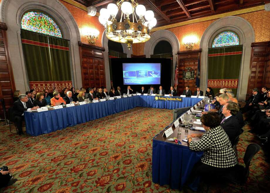 Governor Andrew Cuomo presides over a cabinet meeting in the State Capitol in Albany, N.Y. Jan 2, 2013.(Skip Dickstein/Times Union) Photo: SKIP DICKSTEIN / 00020630A