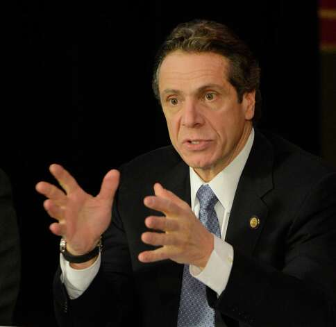 A serious Governor Andrew Cuomo speaks during a cabinet meeting in the State Capitol in Albany, N.Y. Jan 2, 2013.(Skip Dickstein/Times Union) Photo: SKIP DICKSTEIN / 00020630A