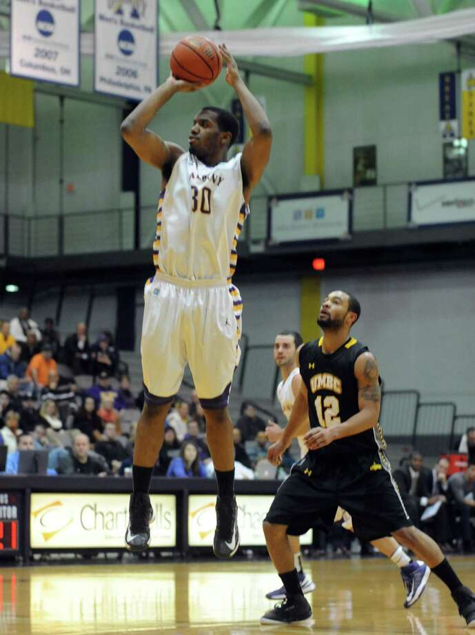 UAlbany's Jayson Guerrier takes a shot during their men's college basketball game against UMBC at the SEFCU Arena in Albany, N.Y. Wednesday Jan. 2, 2013. (Michael P. Farrell/Times Union) Photo: Michael P. Farrell
