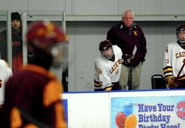 St. Joseph Head Coach Marty Crouse, during boys hockey action against South Windsor at The Rinks in Shelton, Conn. on Wednesday January 2, 2012. Photo: Christian Abraham / Connecticut Post
