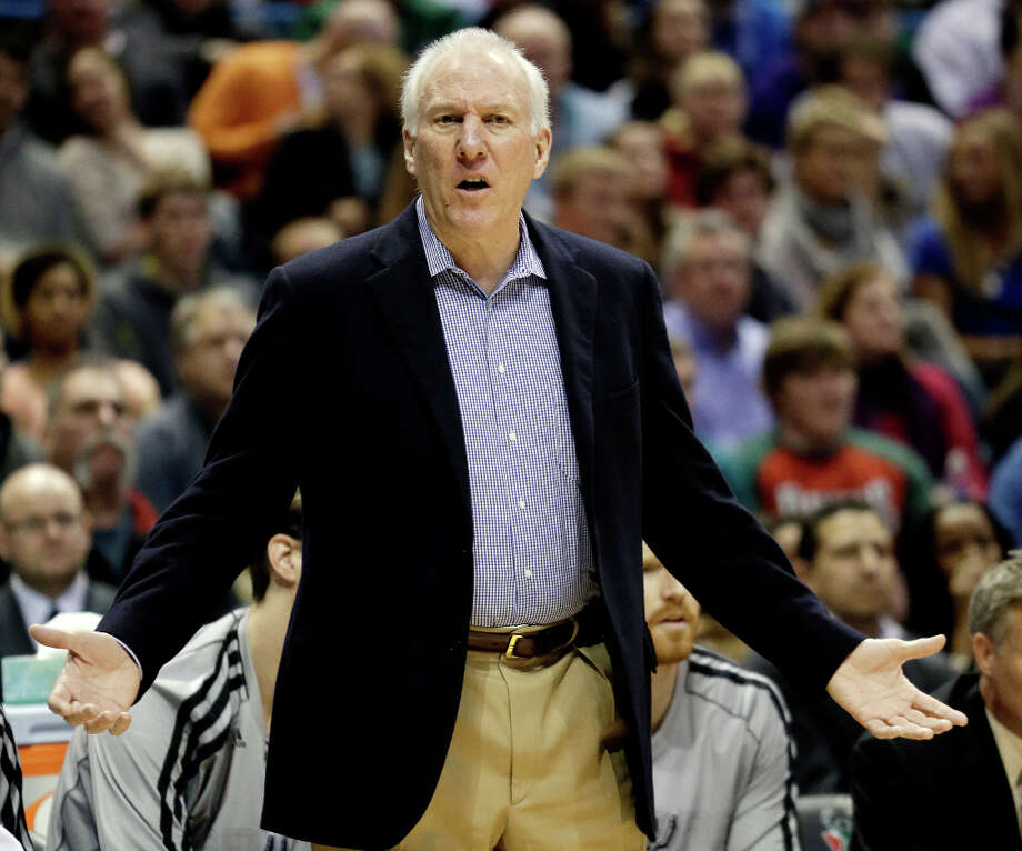 San Antonio Spurs head coach Gregg Popovich reacts to a call during the first half of an NBA basketball game against the Milwaukee Bucks, Wednesday, Jan. 2, 2013, in Milwaukee. Photo: Morry Gash, Associated Press / AP