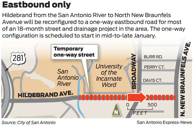 Hildebrand-Broadway drainage project closures Photo: San Antonio Express-News Graphic