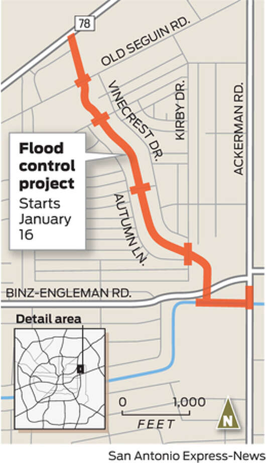 Kirby flood control project Photo: San Antonio Express-News Graphic