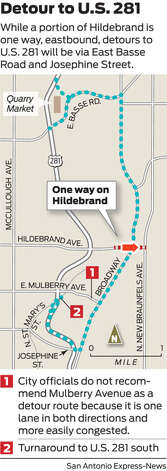 Detour for Hildebrand-Broadway drainage project Photo: San Antonio Express-News Graphic