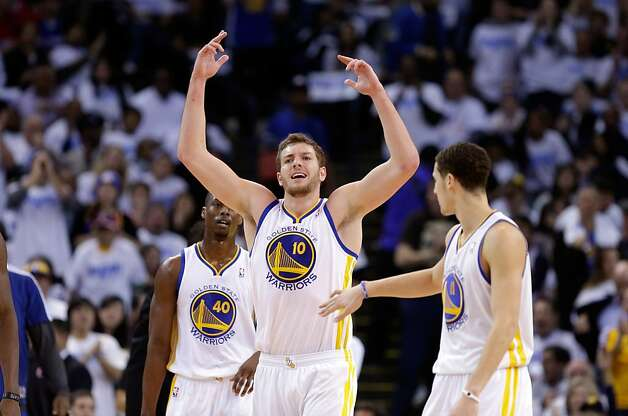 OAKLAND, CA - JANUARY 02:  David Lee #10 of the Golden State Warriors reacts after the Warriors made a basket against the Los Angeles Clippers at Oracle Arena on January 2, 2013 in Oakland, California. NOTE TO USER: User expressly acknowledges and agrees that, by downloading and or using this photograph, User is consenting to the terms and conditions of the Getty Images License Agreement.  (Photo by Ezra Shaw/Getty Images) Photo: Ezra Shaw, Getty Images