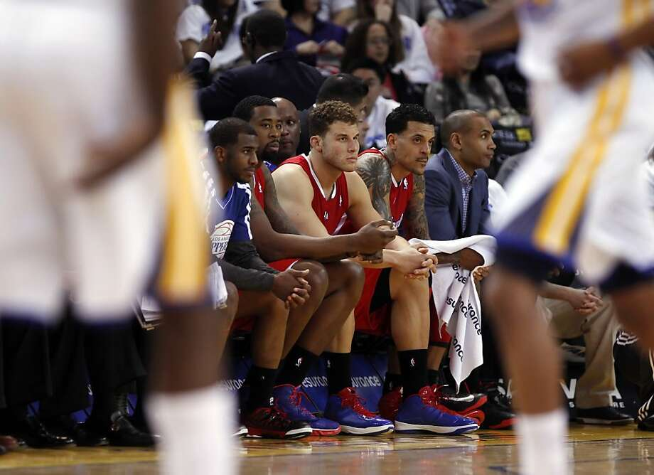 The Clippers starters could only watch from the bench at the end of the fourth quarter after the game was well in hand for the Warriors. The Warriors played the Los Angeles Clippers at Oracle Arena in Oakland, Calif., on Wednesday, January 2, 2013. Photo: Carlos Avila Gonzalez, The Chronicle