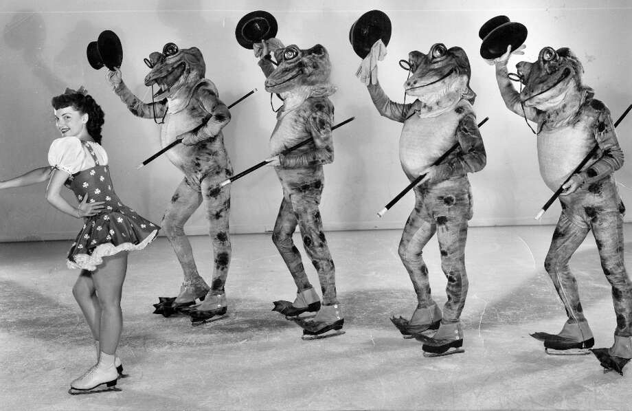 The Ice Follies of 1951, which like every ice show of the era seemed designed specifically to scare the @#$% out of small children. I love how the frogs have top hats, canes and boots, but no pants. Photo: Courtesy Ice Follies / ONLINE_YES