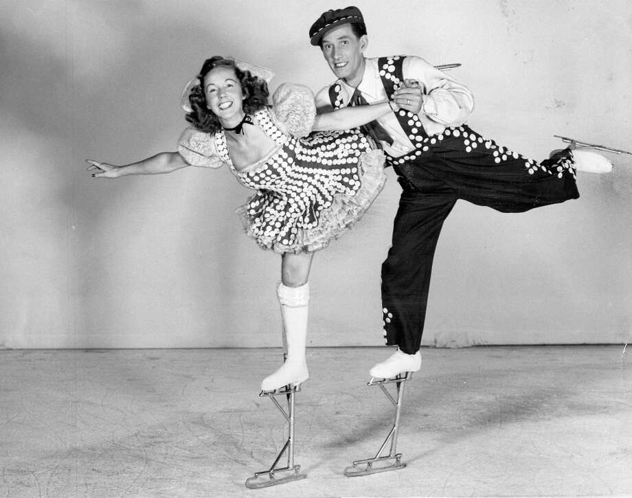 Phyllis and Harris Legg perform on extendo-skates at the Ice Follies of 1948. Skaters of the 1940s and 50s were required to wear at least 150 pieces of flair. No word on the quality of their medical insurance ... Photo: Courtesy Ice Follies / ONLINE_YES