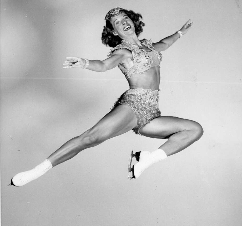 Mae Ross performs in the Ice Follies of 1948. With early ice show employment, part of the deal was looking excited enough that every fan in the cheapest seat could still see your over-the-top happiness. But her eyes are crying for help ... Photo: Courtesy Ice Follies / ONLINE_YES