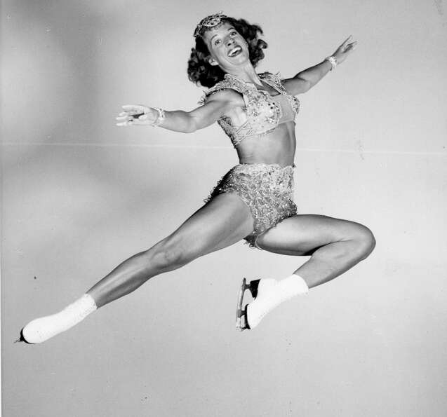Mae Ross performs in the Ice Follies of 1948. With early ice show employment, part of the deal was l