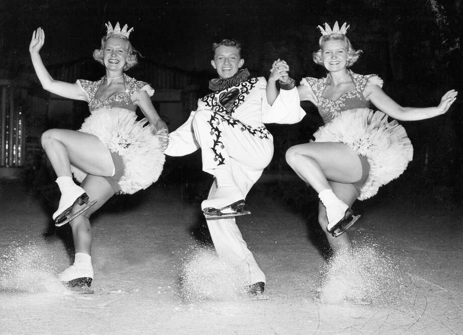 The Shining twins are back, now performing with their 17-year-old brother Evy Jr. at the Ice Follies of 1952. True Evy Scotvold fact: The skater and his future wife Mary co-coached Nancy Kerrigan during the Tanya Harding controversy. Photo: Courtesy Ice Follies / ONLINE_YES