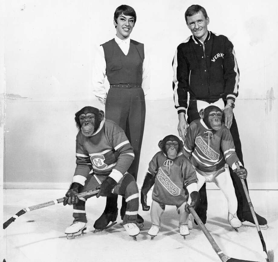 For those who thought the weirdness of this feature would be all downhill after the frogs we present Werner Muller's skating chimps. They performed at Holiday on Ice at the Oakland Coliseum in 1969. And then we presume they made a buddy movie with Clint Eastwood. Photo: Courtesy Holiday On Ice / ONLINE_YES