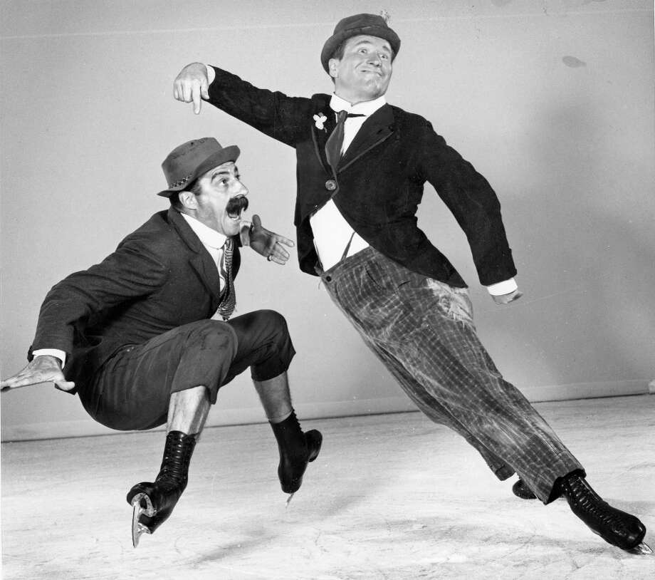 Frick and Frack perform in the Ice Follies of 1953. These performers, along with Oscar Johnson and Eddie Shipstad, were a huge freaking deal in the 1950s ice show hierarchy. Frick and Frack were from Switzerland. Frick continued to skate professionally until the early 1980s. Photo: Courtesy Ice Follies / ONLINE_YES