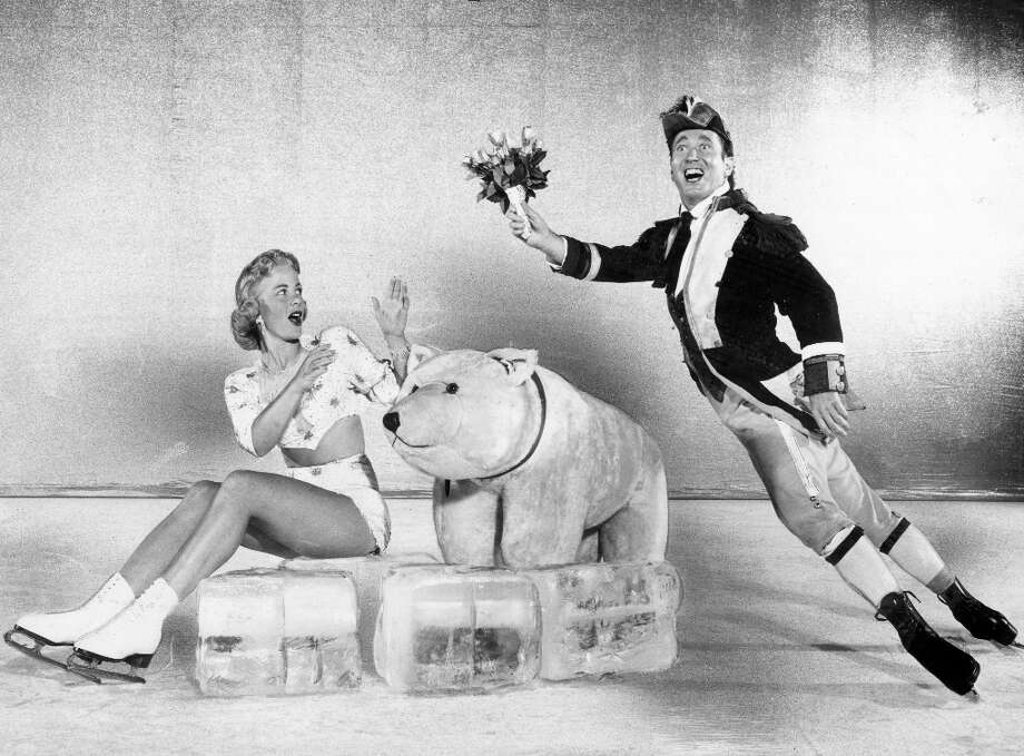 Mr. Frick and Gail Foster perform in the Ice Follies in 1959. It was a simpler time, when a couple of fake ice cubes and a stuffed polar bear passed for production value. I have a crush on Ms. Foster, who has a little bit of a KTVU Julie Haener thing going. Photo: Courtesy Ice Follies / ONLINE_YES