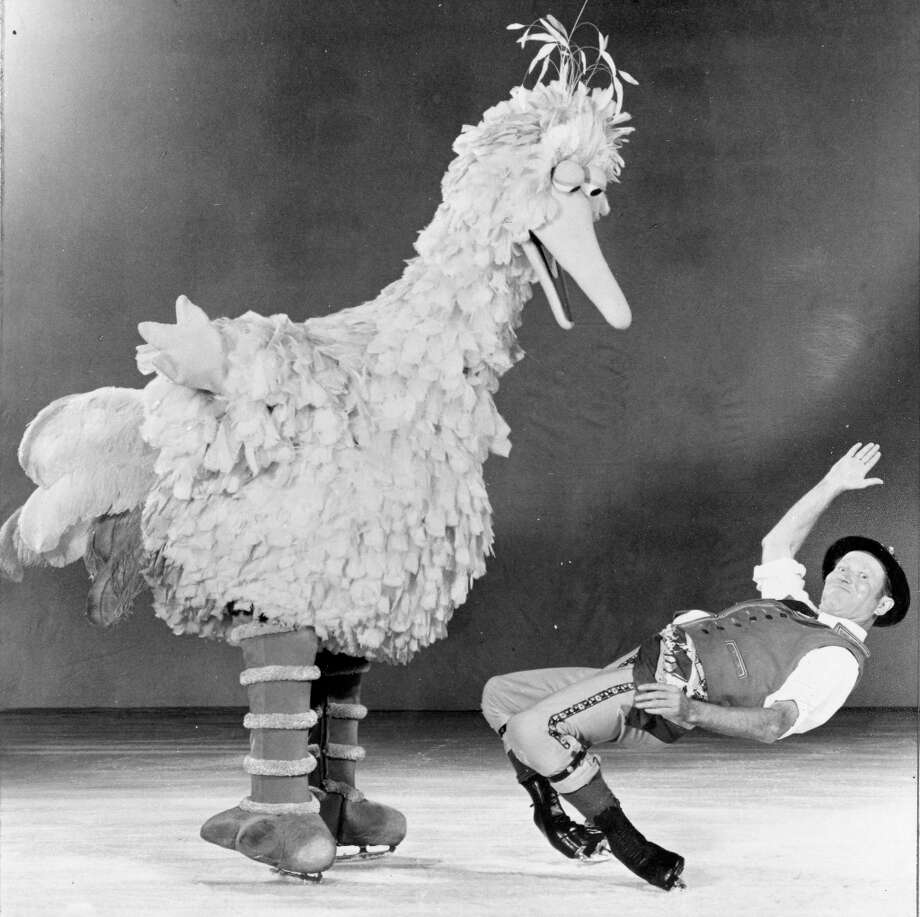 Mr. Frick and Sesame Street's Big Bird perform in a 1977 edition of Shipstads & Johnson Ice Follies. Frick had to be about 130 years old at this point. Not sure why Big Bird appears to be posturing like someone just cut him off in traffic. Photo: Courtesy Ice Follies / ONLINE_YES