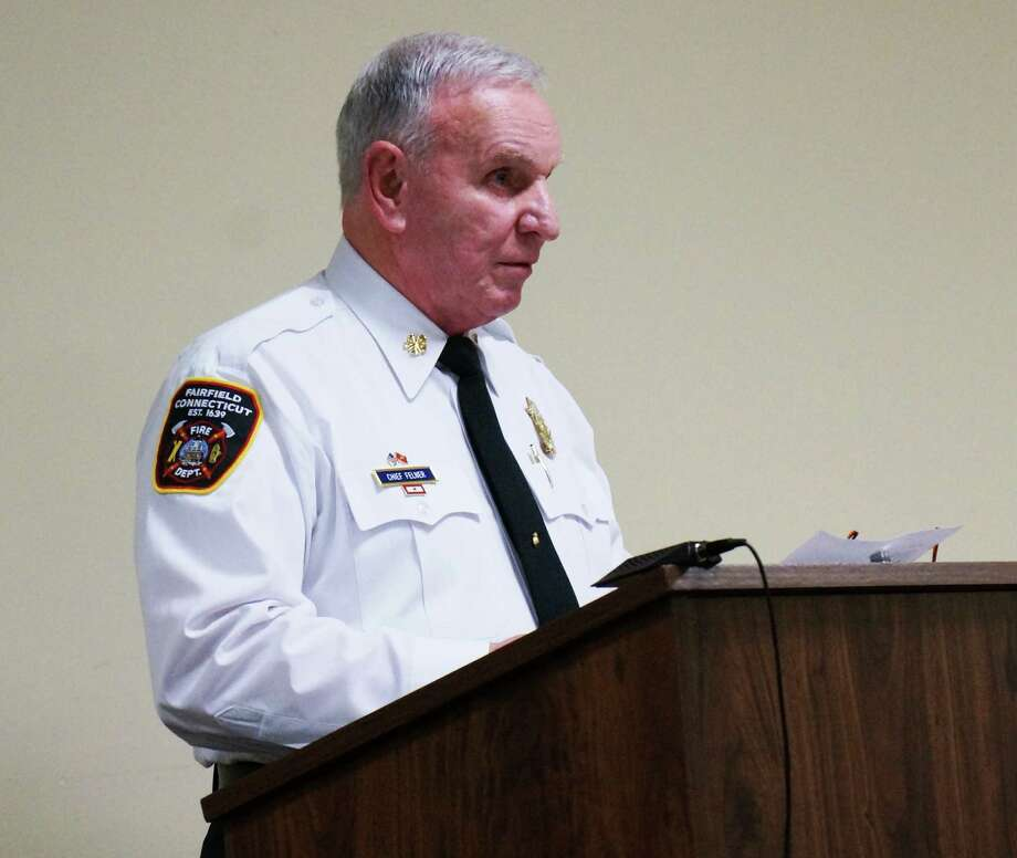 Fire Chief Richard Felner answers questions from the Board of Selectmen regarding firefighter promotions. Photo: Genevieve Reilly / Fairfield Citizen