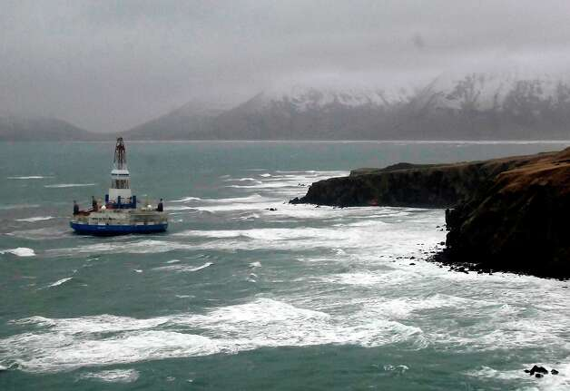 Shell's drilling rig Kulluk ran aground off a small island near Kodiak Island Wednesday Jan. 2, 2013. There's no indication of a fuel leak from Kulluk, the Coast Guard said. Photo: Travis Marsh