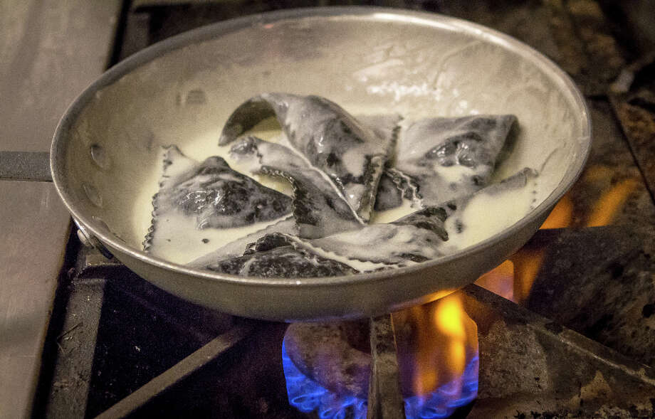 Black Ravioli being cooked at Belli Osteria. Photo: John Storey, Special To The Chronicle / John Storey