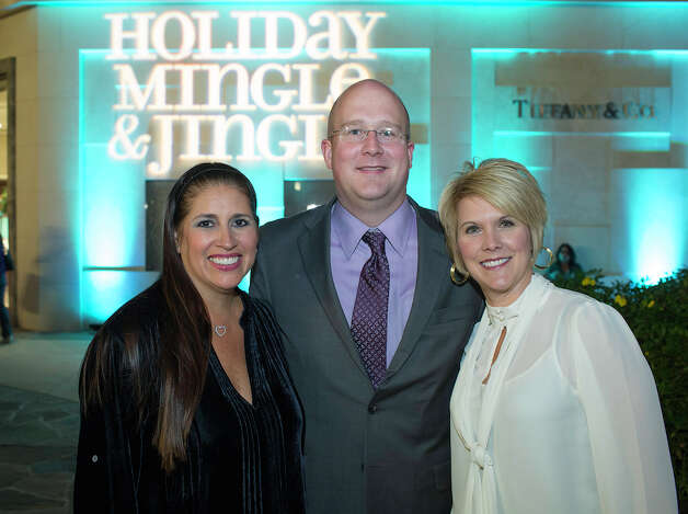 Holiday Mingle & Jingle charity fundraiser: Viola's  Huge Heart Foundation founder Diana Barrios Treviño (left), Tiffany  & Co. director Michael Gresham and La Cantera marketing director  Michelle Robertson turn out for the fundraiser at The Shops at La  Cantera.