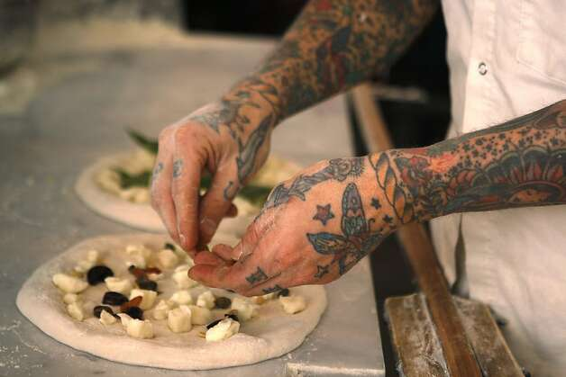 Chef Anthony Mangieri of Una Pizza Napoletana making pizzas during dinner time in San Francisco. Photo: Liz Hafalia, The Chronicle