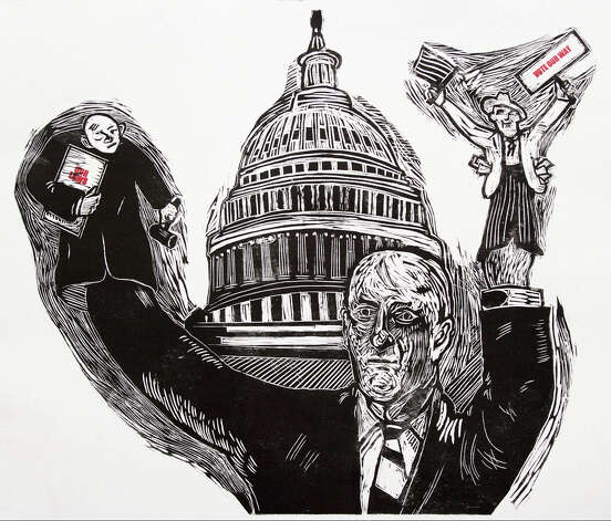 """Congress,"" by Stamford artist Donald Axleroad, is one of about a dozen prints from the artist on display at Silvermine Arts Center, New Canaan, Conn., from Sunday, Jan. 6, to Feb. 17, 2013. An opening reception is set for Sunday, Jan. 6, 2013, from 2 to 4 p.m. There also will be a new members' show, a solo exhibition to honor the late Tina Rohrer and selections on display from Silvermine's print collection. For more information, call 203-966-9700 or visit http://www.silvermineart.org. Photo: Contributed Photo"