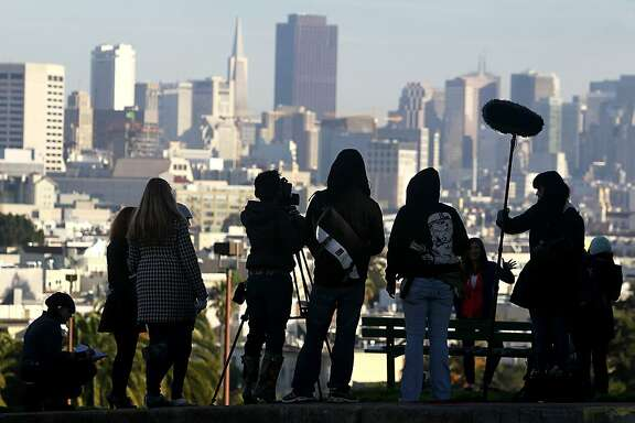 "A production crew films a scene for ""San Fran Land"" at Dolores Park in San Francisco, Calif. on Saturday, Dec. 8, 2012."